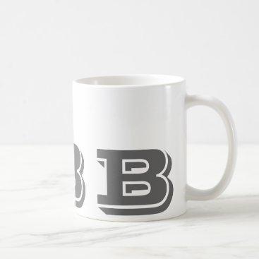 Coffee Themed Monogram Initial B Grey Modern Coffee Mug