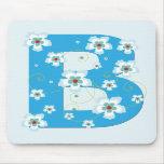 Monogram initial B pretty blue floral mousepad