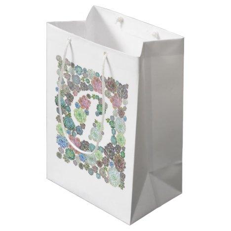Monogram initial B Succulents design giftbag Medium Gift Bag
