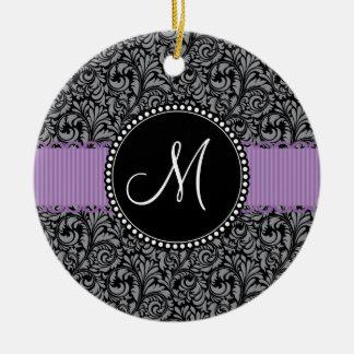 Monogram Initial Black Floral Damask Purple Ribbon Ceramic Ornament