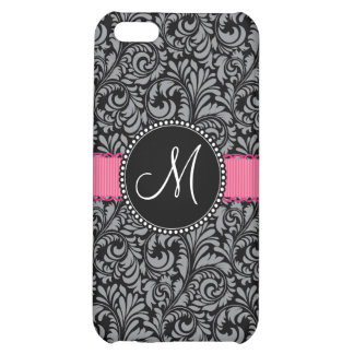 Monogram Initial Black Gray Damask Floral Pattern Cover For iPhone 5C