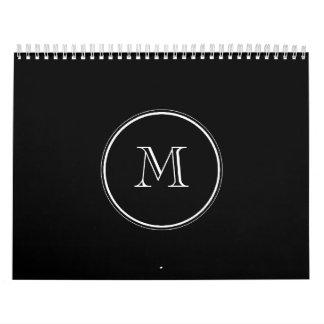 Monogram Initial Black High End Colored Calendar