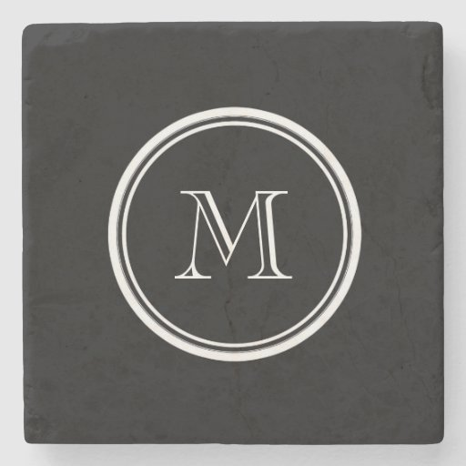 Monogram Initial Black High End Colored Stone Coaster