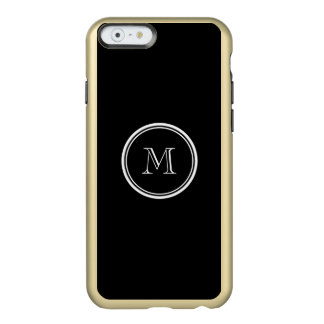 Monogram Initial Black High End Colored Incipio Feather Shine iPhone 6 Case