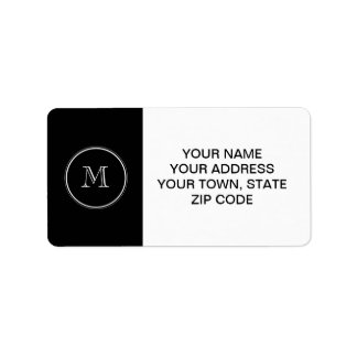 Monogram Initial Black High End Colored Label