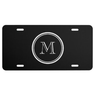 Monogram Initial Black High End Colored License Plate
