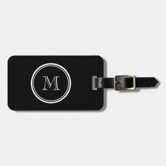 Monogram Initial Black High End Colored Luggage Tag