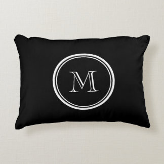 Monogram Initial Black High End Colored Accent Pillow
