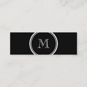 High end business cards zazzle monogram initial black high end colored mini business card reheart Images