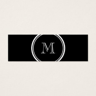 Monogram Initial Black High End Colored Mini Business Card