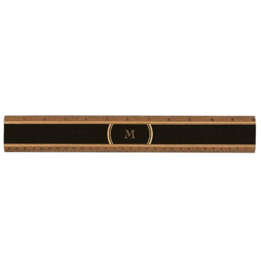 Monogram Initial Black High End Colored Maple Ruler