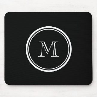 Monogram Initial Black High End Colored Mouse Pad