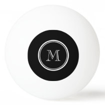 Monogram Initial Black High End Colored Ping Pong Ball
