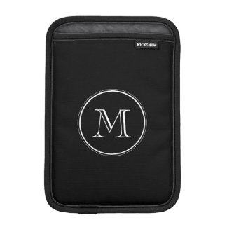 Monogram Initial Black High End Colored Sleeve For iPad Mini