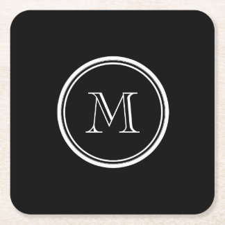 Monogram Initial Black High End Colored Square Paper Coaster