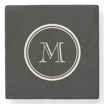 GraphicsByMimi Monogram Initial Black High End Colored Stone Coaster