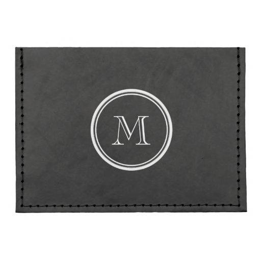 Monogram Initial Black High End Colored Tyvek(r) Card Case Wallet