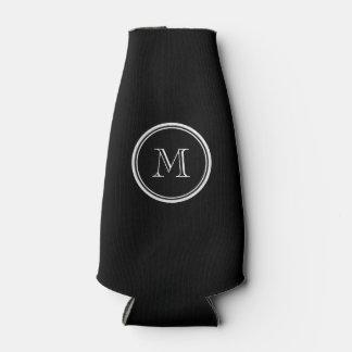 Monogram Initial Black High End Colored Bottle Cooler