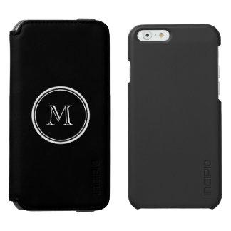 Monogram Initial Black High End Colored Incipio Watson™ iPhone 6 Wallet Case