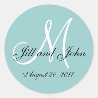 Monogram Initial Blue Wedding Seal Round Stickers