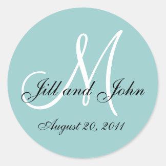 Monogram Initial Blue Wedding Seal Classic Round Sticker