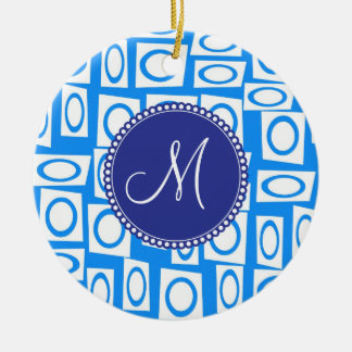 Monogram Initial Blue White Circle Square Pattern Ceramic Ornament