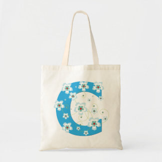 Monogram initial C floral flowery pretty tote bag