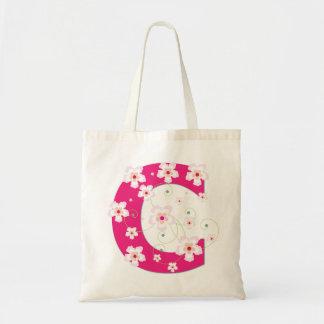 Monogram initial C floral flowery pretty tote bag