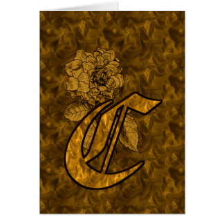 Monogram Initial C Gold Peony Blank Card