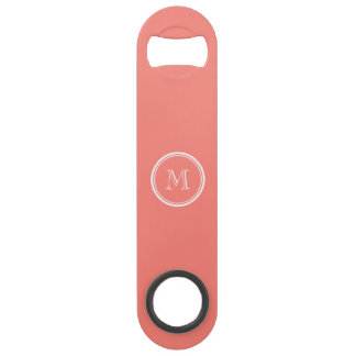 Monogram Initial Coral Pink High End Colored Bar Key