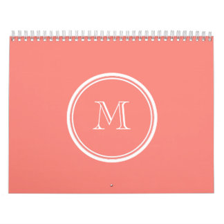 Monogram Initial Coral Pink High End Colored Calendar