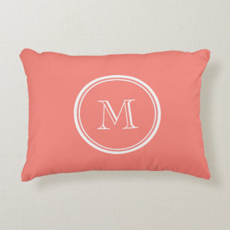 Monogram Initial Coral Pink High End Colored Decorative Pillow