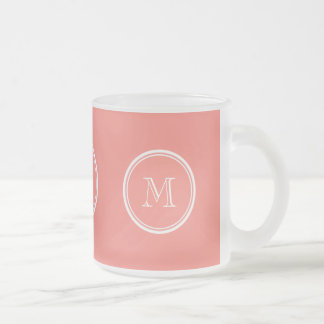 Monogram Initial Coral Pink High End Colored Frosted Glass Coffee Mug