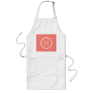 Monogram Initial Coral Pink High End Colored Long Apron