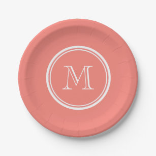 Coral Pink Color Tone Plates | Zazzle