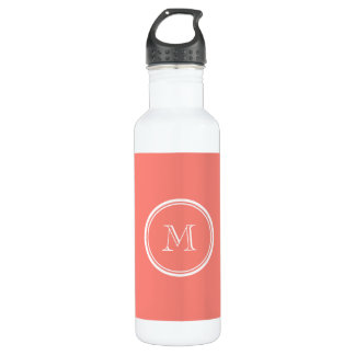 Monogram Initial Coral Pink High End Colored Stainless Steel Water Bottle
