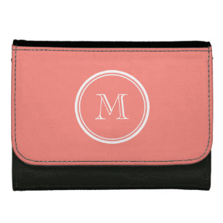 Monogram Initial Coral Pink High End Colored Wallet