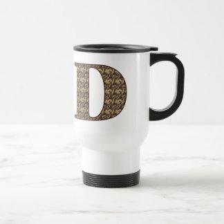 Monogram Initial D Elegant Floral Travel Mug