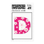 Monogram initial D pretty floral postage stamp