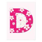 Monogram initial D pretty pink floral postcard
