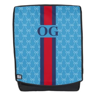 Monogram Initial Designer Pattern w/ Stripe Blue Backpack
