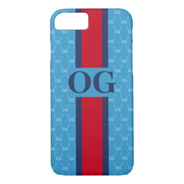 Monogram Initial Designer Pattern w/ Stripe Blue iPhone 8/7 Case