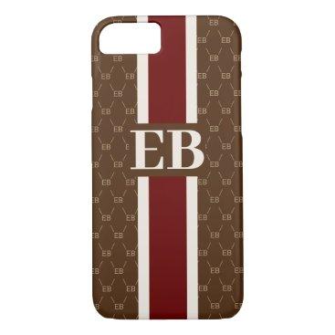 Monogram Initial Designer Pattern w/ Stripe Brown iPhone 8/7 Case