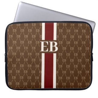 Monogram Initial Designer Pattern w/ Stripe Brown Computer Sleeve
