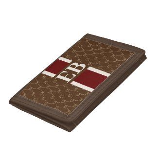 Monogram Initial Designer Pattern w/ Stripe Brown Trifold Wallet