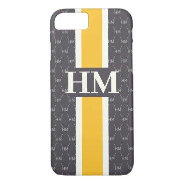 Monogram Initial Designer Pattern w/ Stripe Gray iPhone 8/7 Case