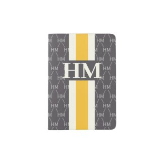Monogram Initial Designer Pattern w/ Stripe Gray Passport Holder