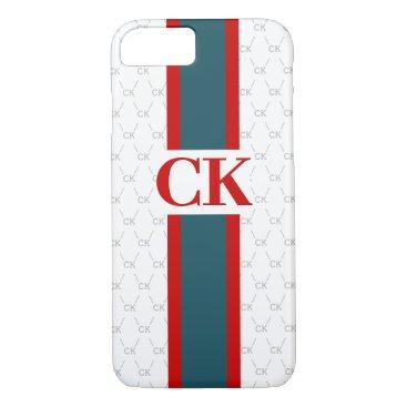 Monogram Initial Designer Pattern w/ Stripe White iPhone 8/7 Case