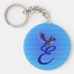 Monogram Initial E Bluebird Keychain