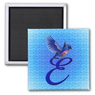 Monogram Initial E Bluebird Magnet